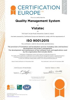 Vistatec ISO 9001 2008