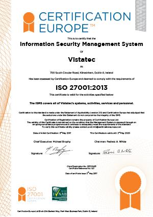 Certificación de Vistatec conforme a la ISO 27001:2013