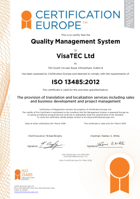 Certificación de Vistatec conforme a la ISO 13485:2012